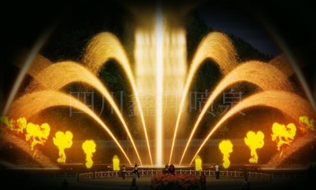 音乐喷泉设计之美轮美奂的孔雀开屏喷泉
