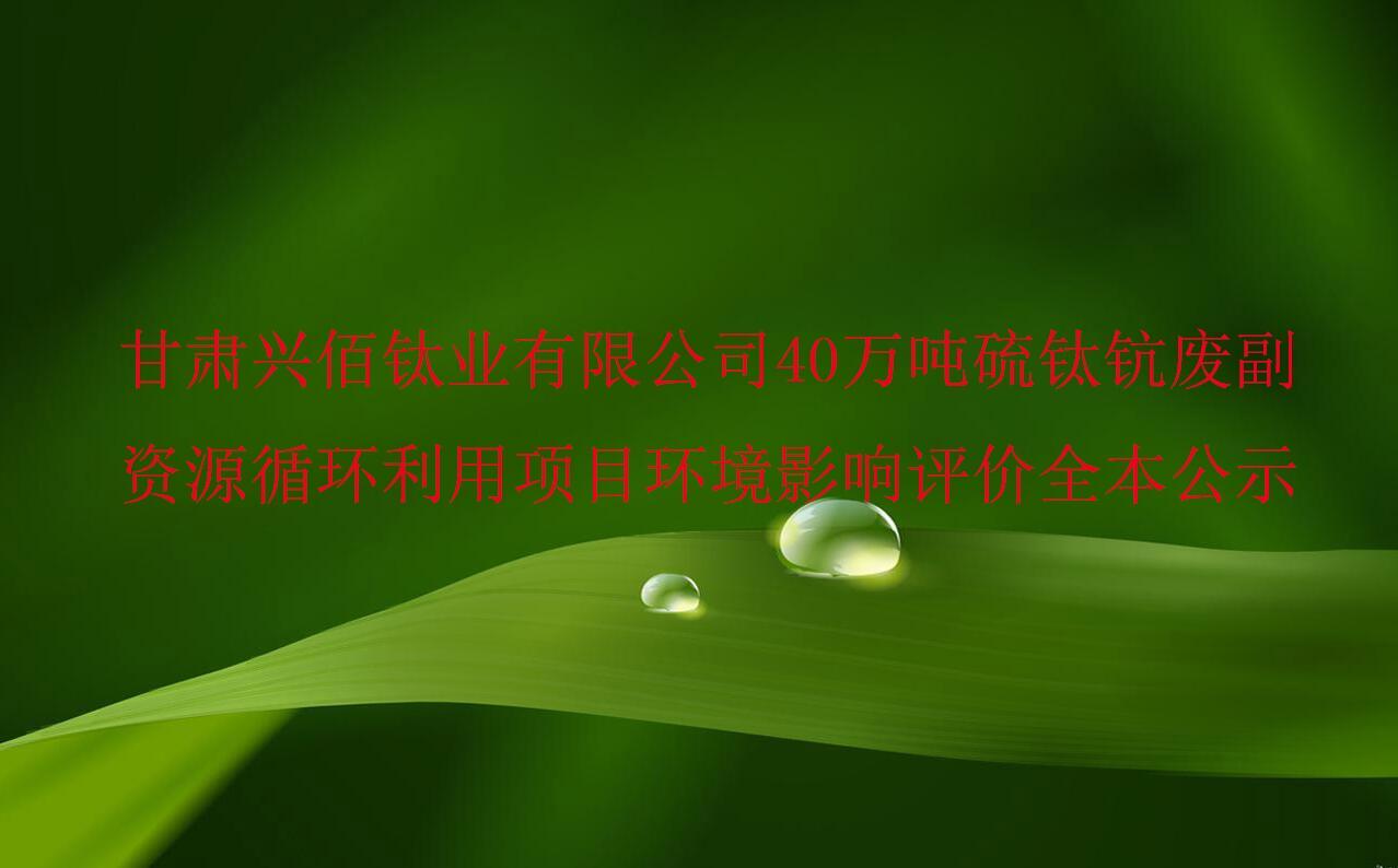 甘肃兴佰钛业有限公司 40万吨硫钛钪废副资源循环利用项目 环境影响评价全本公示