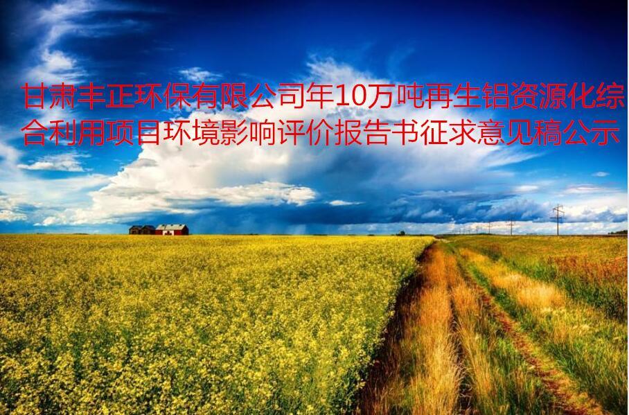 甘肅豐正環保有限公司年10萬噸再生鋁資源化綜合利用項目  環境影響評價報告書征求意見稿公示