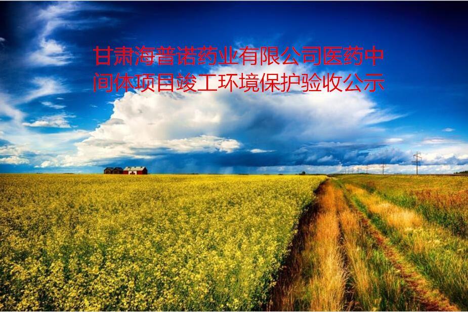 甘肃海普诺药业有限公司医药中间体项目竣工环境保护验收公示