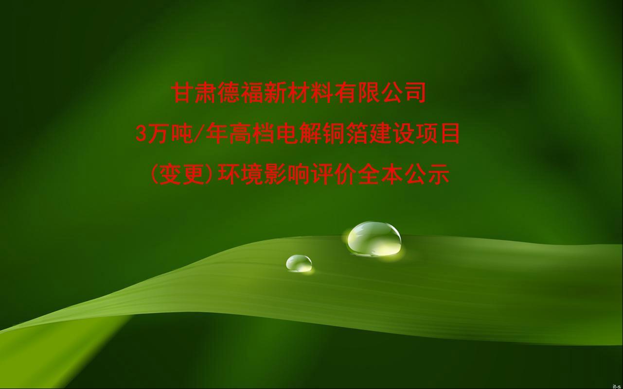 甘肃德福新材料有限公司 3万吨/年高档电解铜箔建设项目(变更) 环境影响评价全本公示