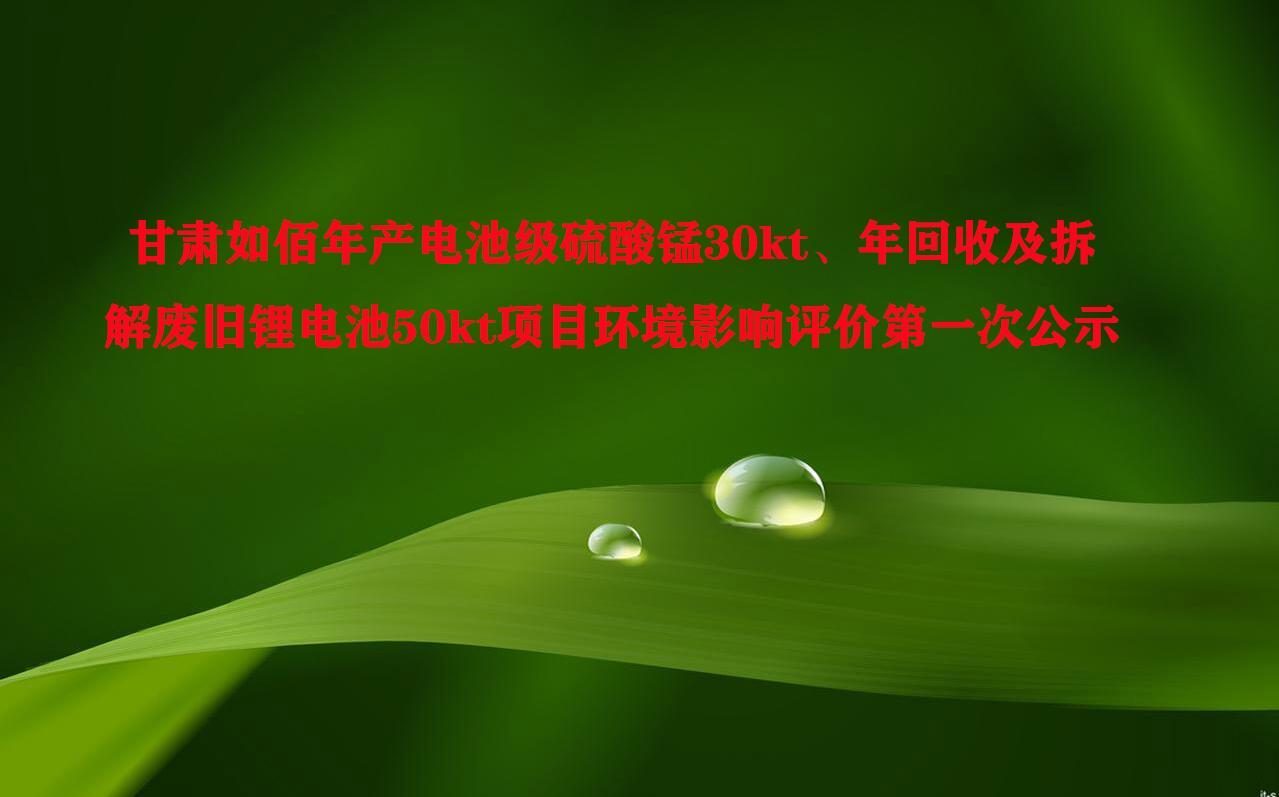 甘肃如佰年产电池级硫酸锰30kt、年回收及拆解废旧锂电池50kt项目环境影响评价第 一次公示
