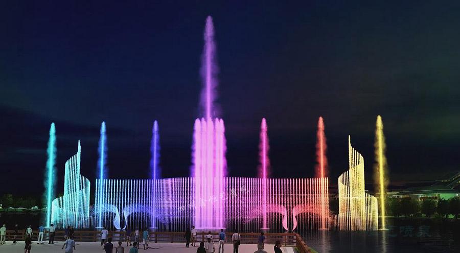湖面音乐喷泉