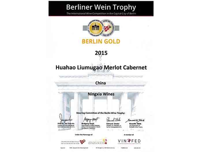 8-2017德国柏林大赛金奖--华昊柳木高干红葡萄酒2015