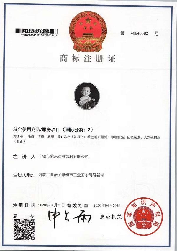 蒙东油漆商标注册证