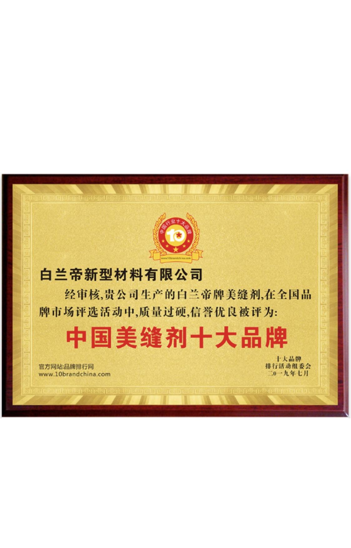 眉山白兰帝美缝荣获:中国美缝剂十大品牌
