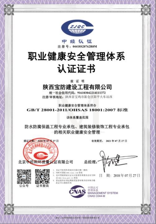 职业健康体系认证证书