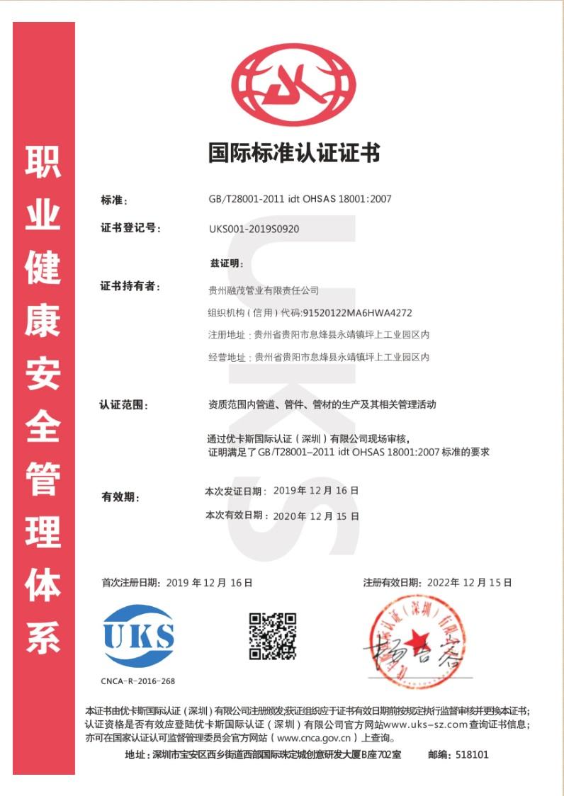 国际标准认证证书—健康