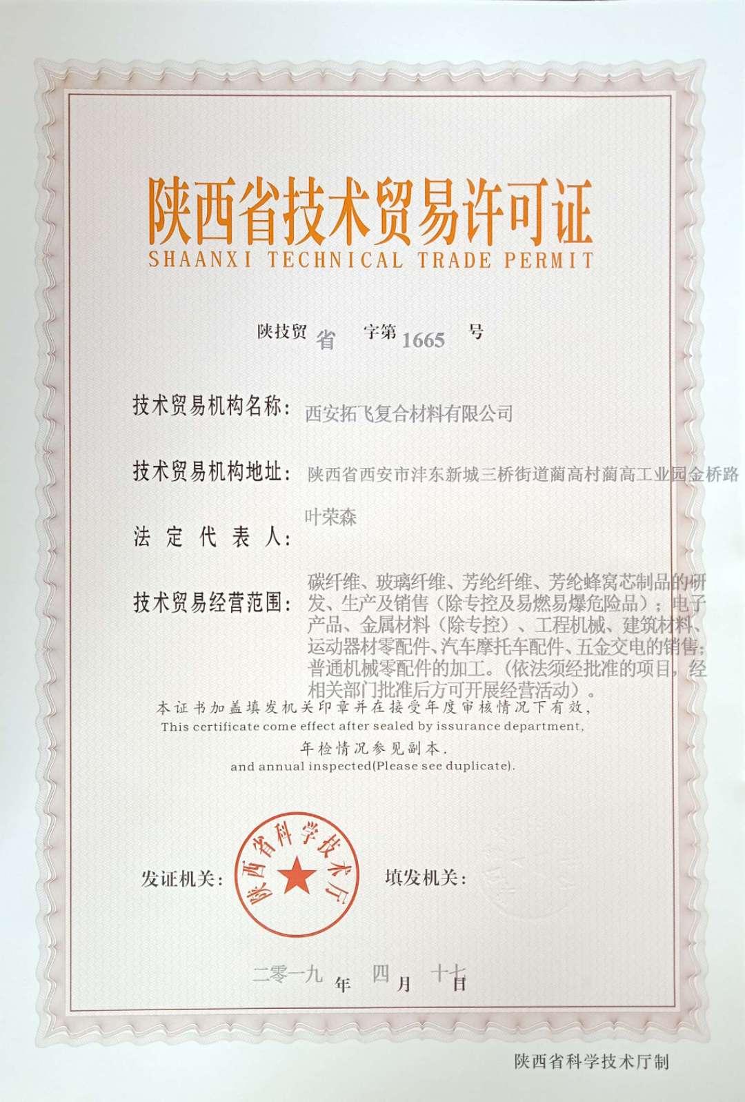 陕西省技术贸易许可证