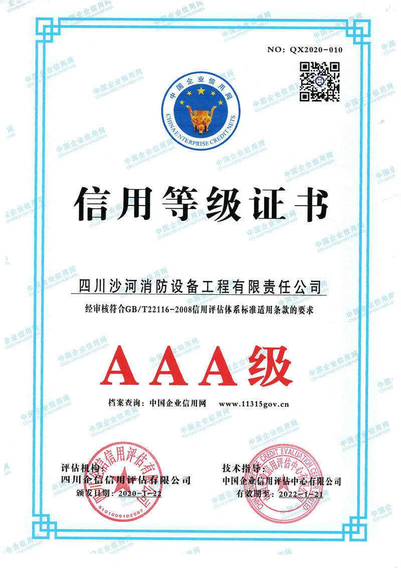 AAA級信用等級證書
