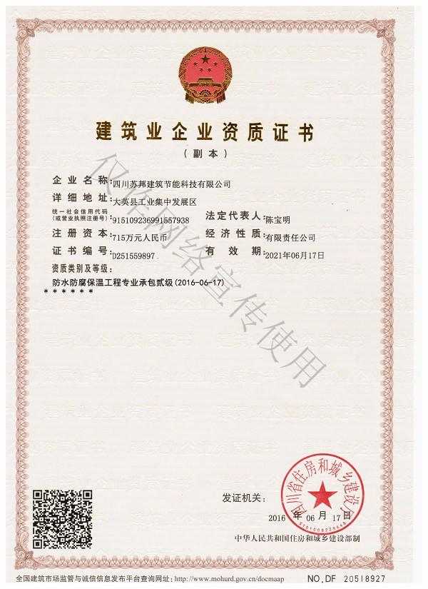 苏邦建筑建筑业企业资质证书