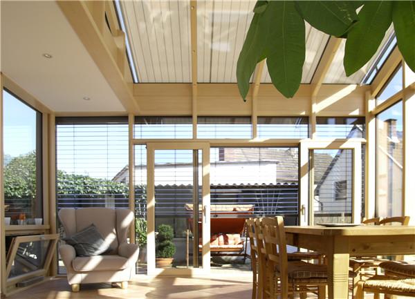 欧式复古阳光房 古典美观 木纹铝合金材质