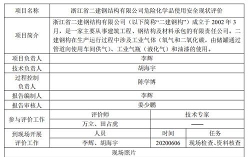 宁波二建钢构安全现状评价公示内容