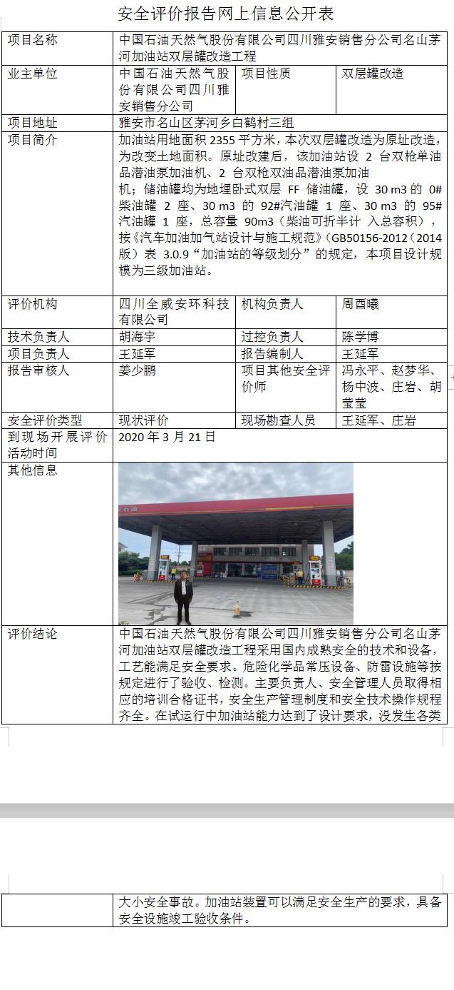中国石油天然气股份有限公司四川雅安销售分公司名山茅河加油站双层罐改造工程