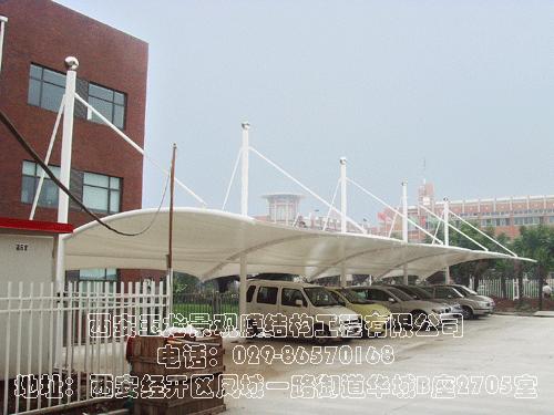 临汾公安局车库入口膜结构工程