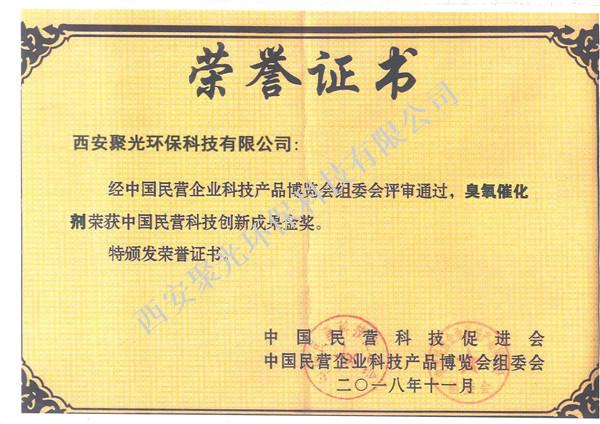 中国民营科技创新成果奖--臭氧催化剂