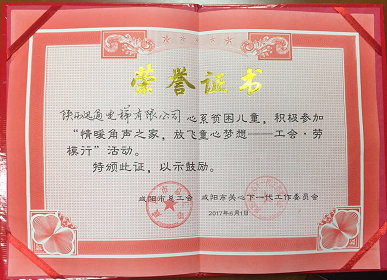 陕西迅通电梯有限公司资助贫困儿童荣誉证书