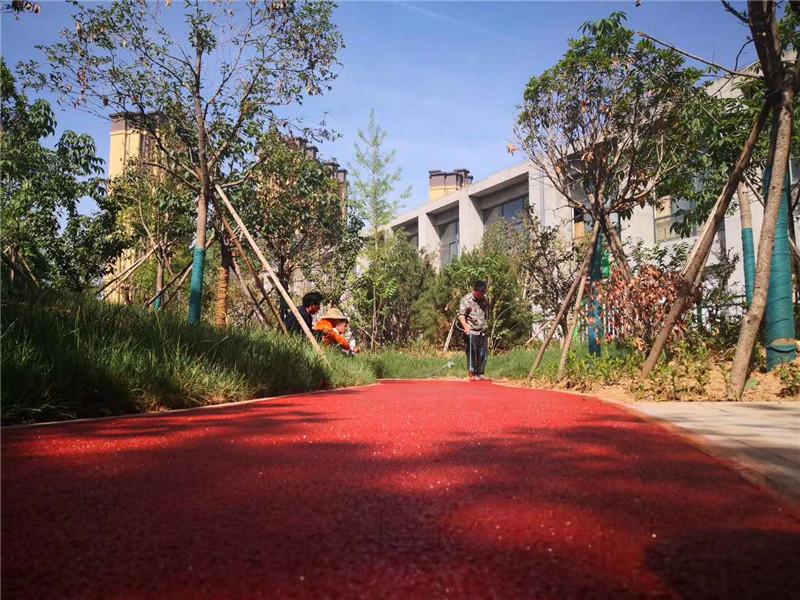 纺园六路彩色透水混凝土