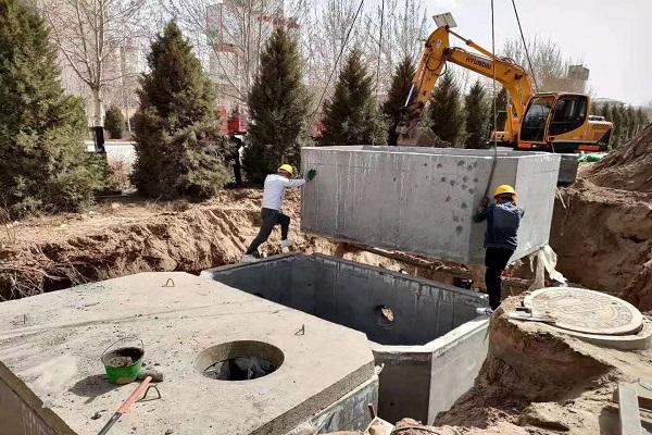 钢筋混凝土化粪池安装现场