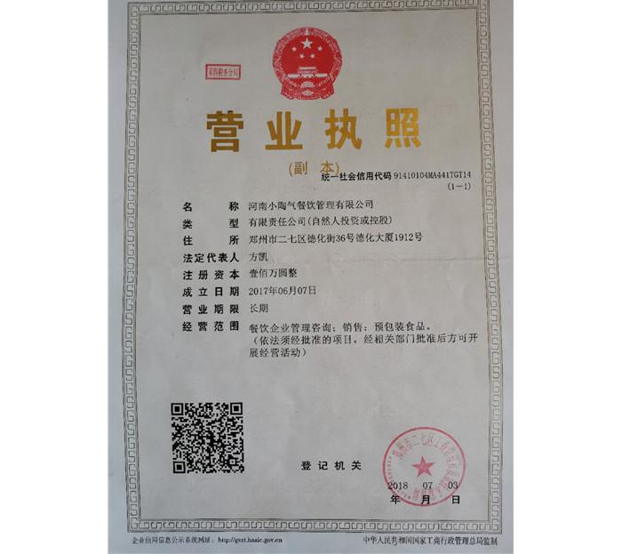 河南小陶气餐饮管理有限公司营业执照