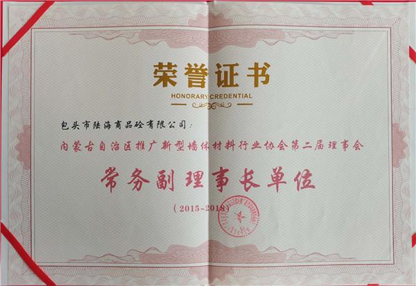 常务副理事长单位证书