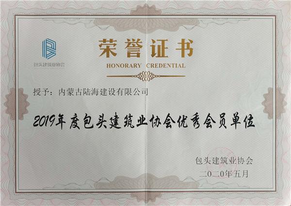 2019年度会员单位证书