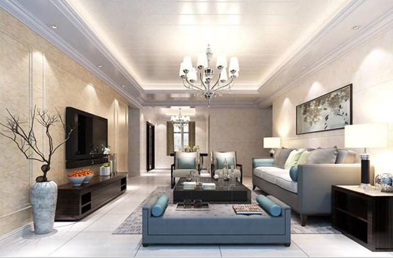 客厅装修采用竹木纤维快装墙板效果图