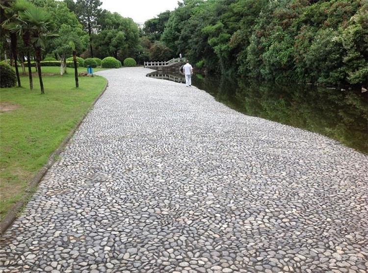 某某公园使用南阳卵石铺路展示效果,鹅卵石都有那些规格?