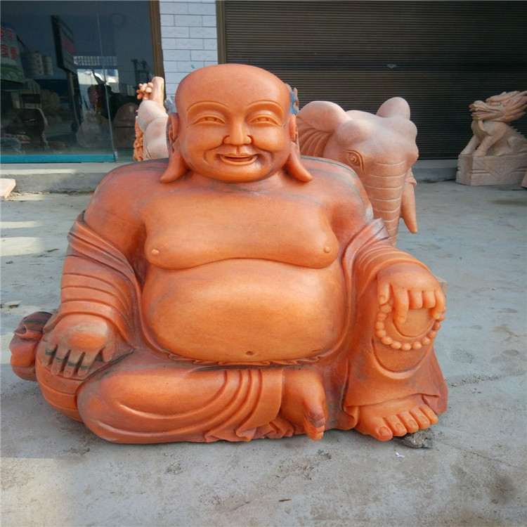 晚霞红石雕佛像 弥勒佛雕像 笑勒佛雕塑供应