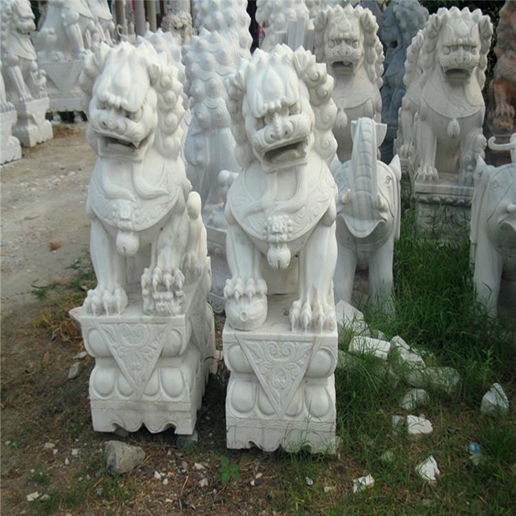大理石石雕石狮子 可以看门白色石狮子