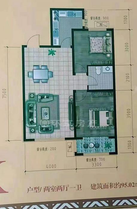 下花园新房出售:瑞和..城南北通透两居