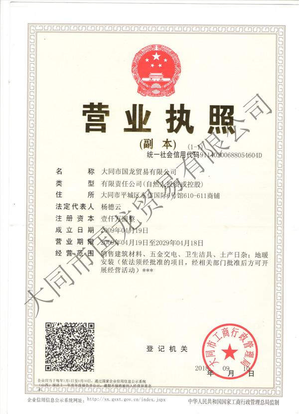 大同市国龙贸易公司营业执照