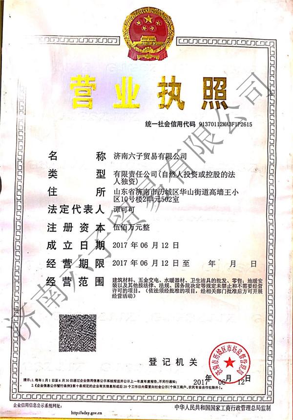 济南六子贸易公司营业执照