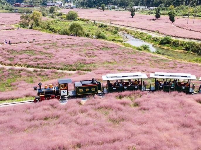 9月2日,游客在长顺县神泉谷景区内乘坐观光小火车游览