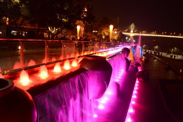 水舞秀跌水水景喷泉设备安装案例