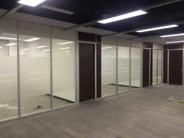 双层艺术喷砂玻璃隔断配生态门