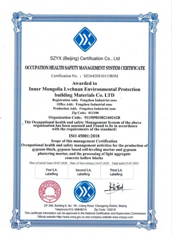 职业健康(英)资质证书