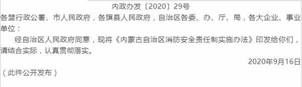 内蒙古自治区人民政府办公厅关于印发《内蒙古自治区消防安全责任制实施办法》的通知