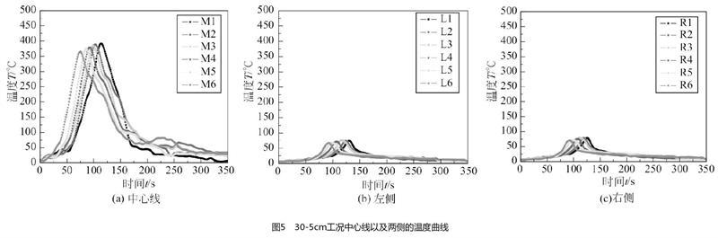 30-5cm工况中心线以及两侧的温度曲线