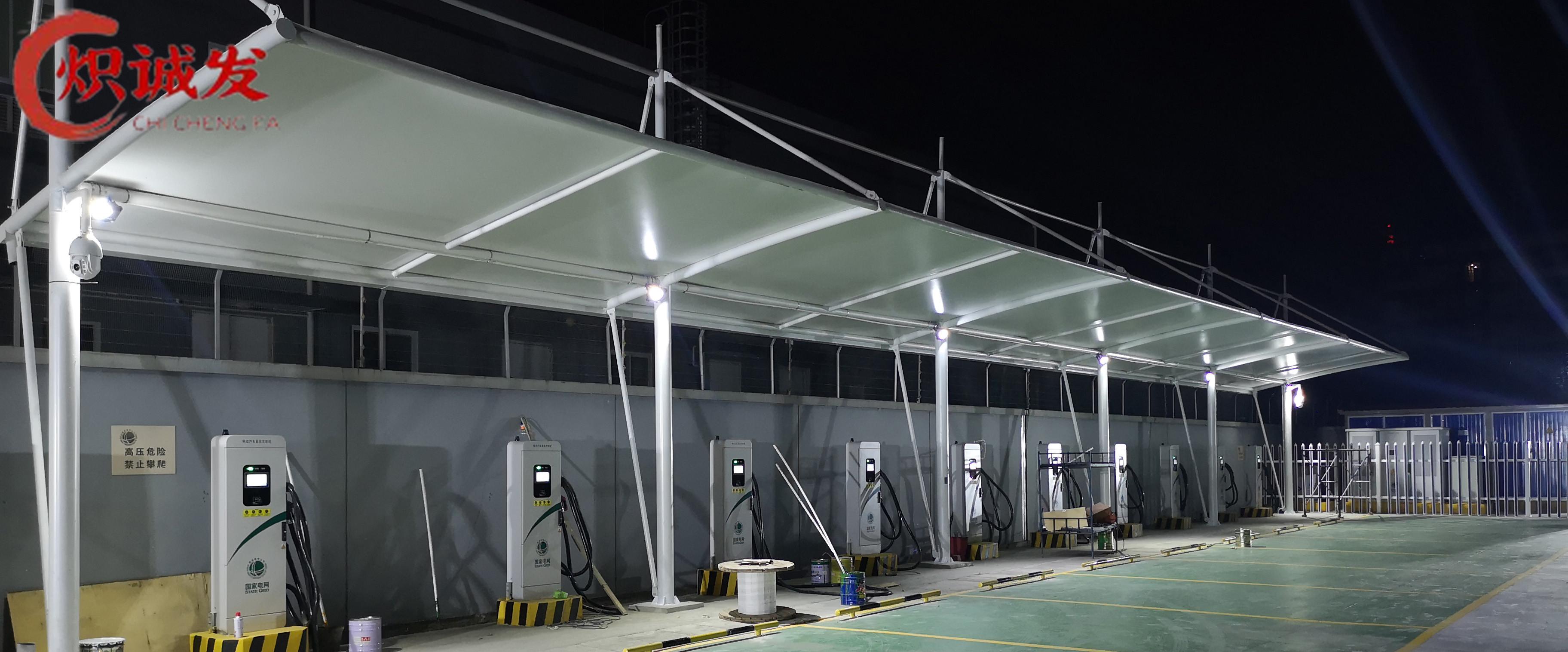 四川膜结构车棚-新都汉城小学充电桩车棚工程