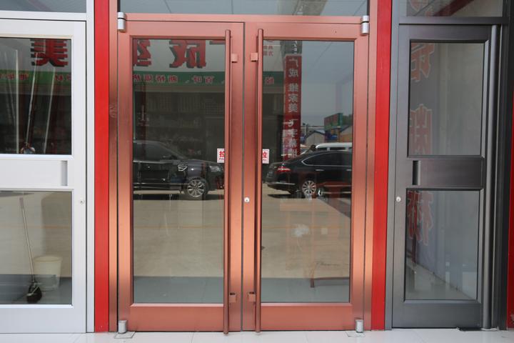 肯德基门铝型材休闲餐厅入户门钢化玻璃平开门