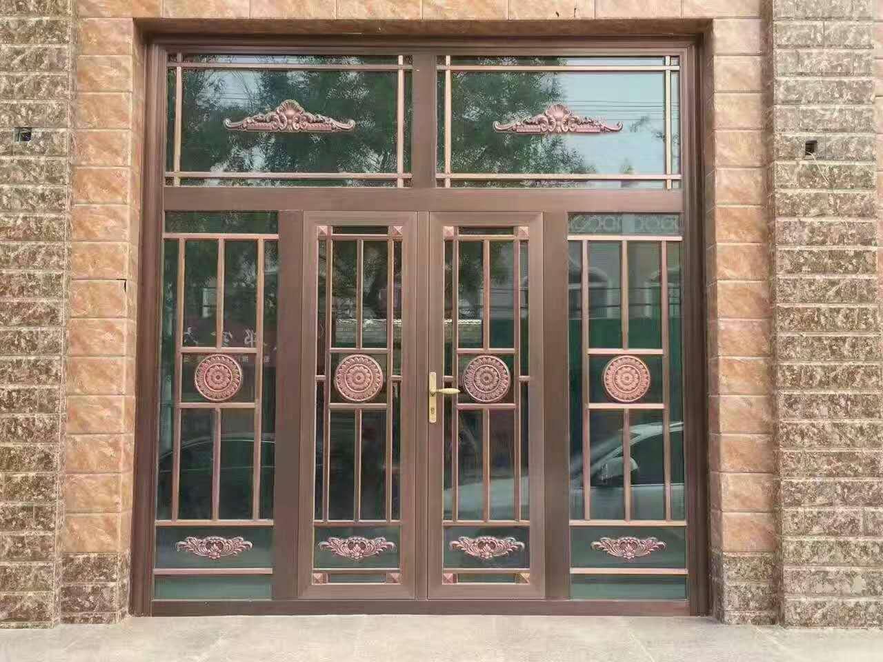 厂家肯德基门定做麦当劳铝合金商铺楼宇防爆警银亭平开钢化玻璃门