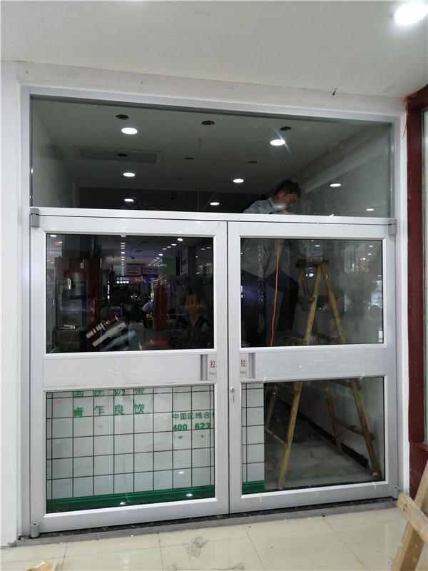 厂家肯德基门定做麦当劳门铝合金商铺门楼宇门防爆门警银亭玻璃门