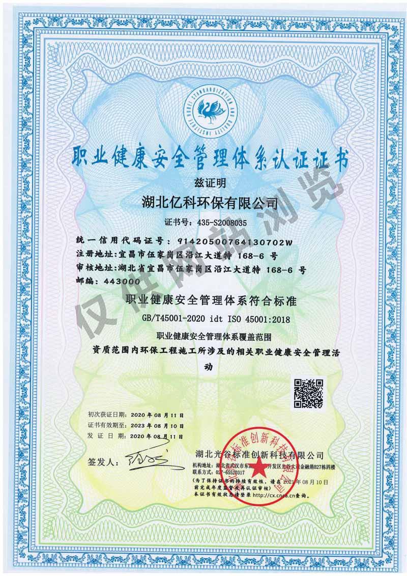 职业监控安全管理体系认证证书