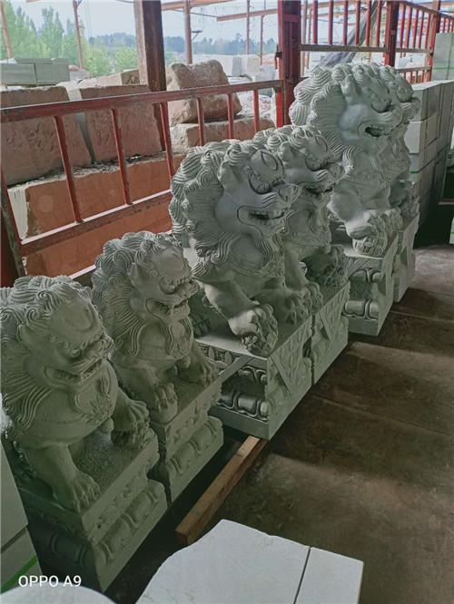 青砂岩石狮子