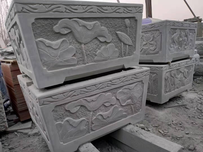 四川青砂石雕刻方缸