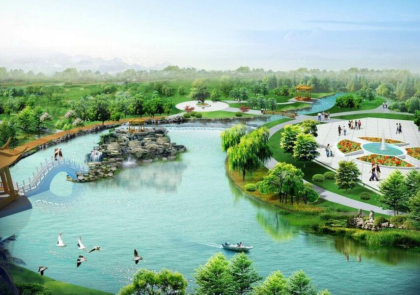 园林水景与塑石假山结合的效果
