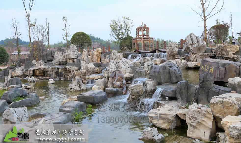 四川假山瀑布细节展示
