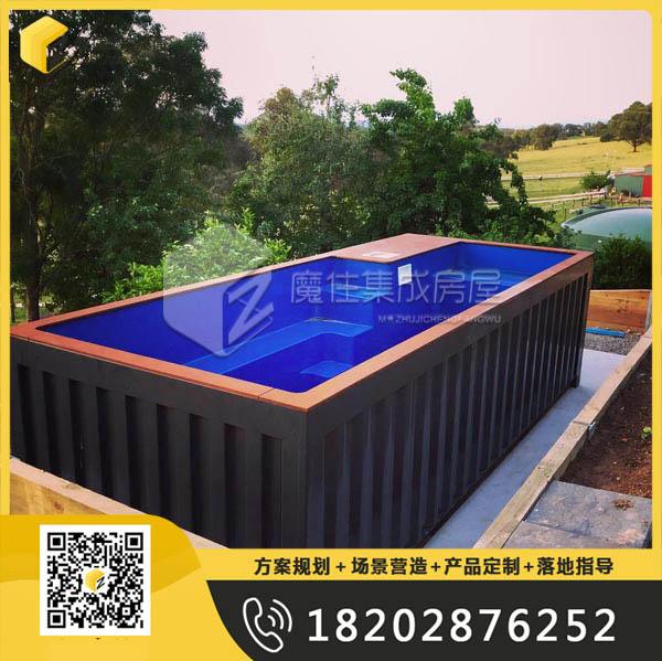 黑色集装箱泳池出口美国项目定制