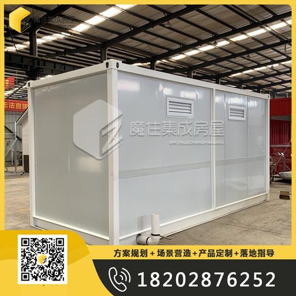 出口美国集装箱彩钢板水冲直排式2蹲位移动厕所